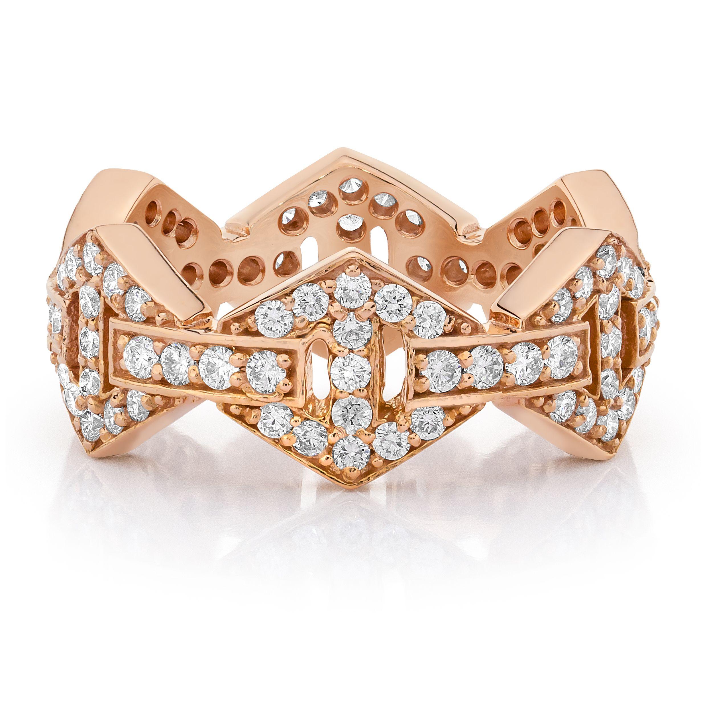 Walters Faith Keynes 18K Signature Black Rhodium Diamond Bar Hexagon Stackable Ring Silver r1KZ5Rp14Q