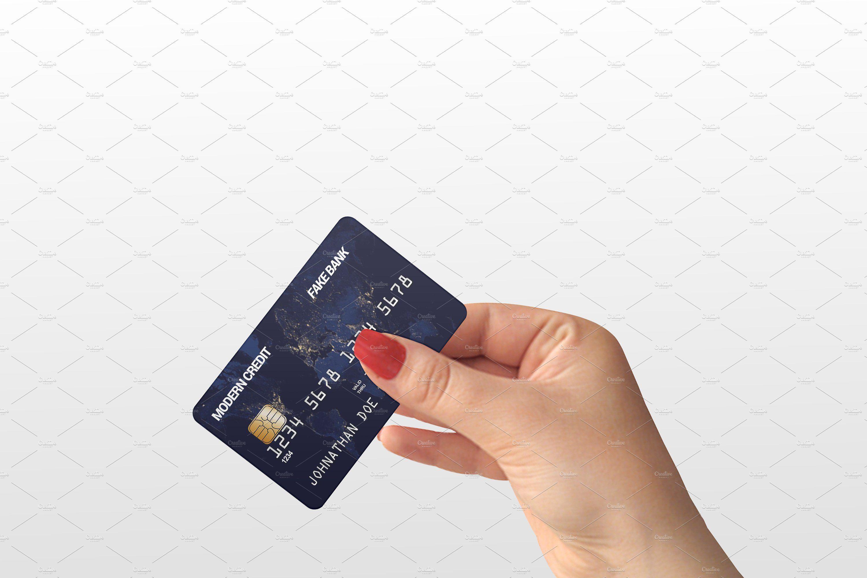Credit Card In Hand Mock Up Credit Card Design Credit Card