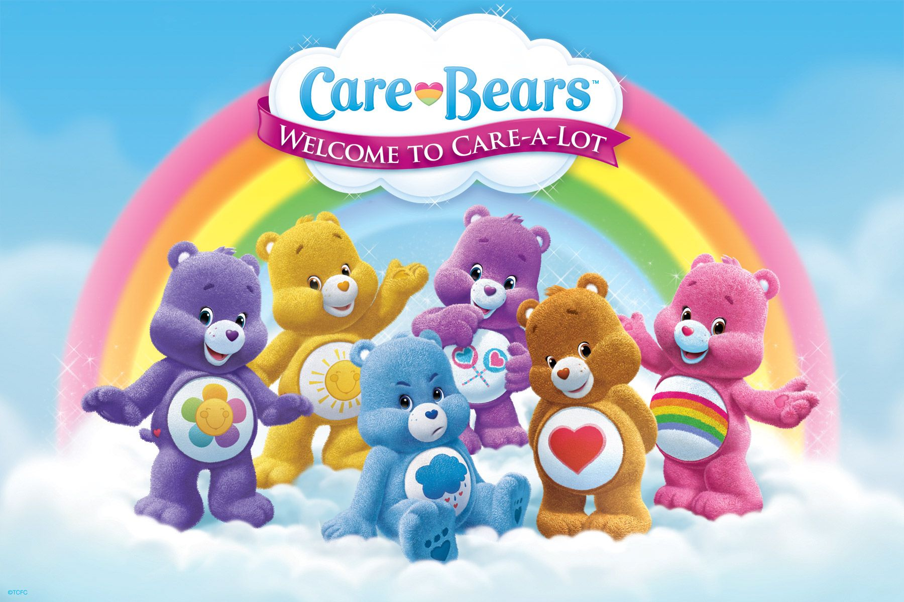 Care bears welcome to care a lot meet the care bears care bears birthday party invitation by funpartyinvitation monicamarmolfo Choice Image