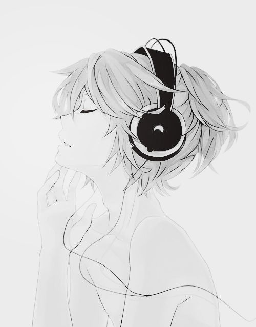 Awesome anime girl wearing headphones honestly i cant go a single day without doing anything with music whether its listening to music or play