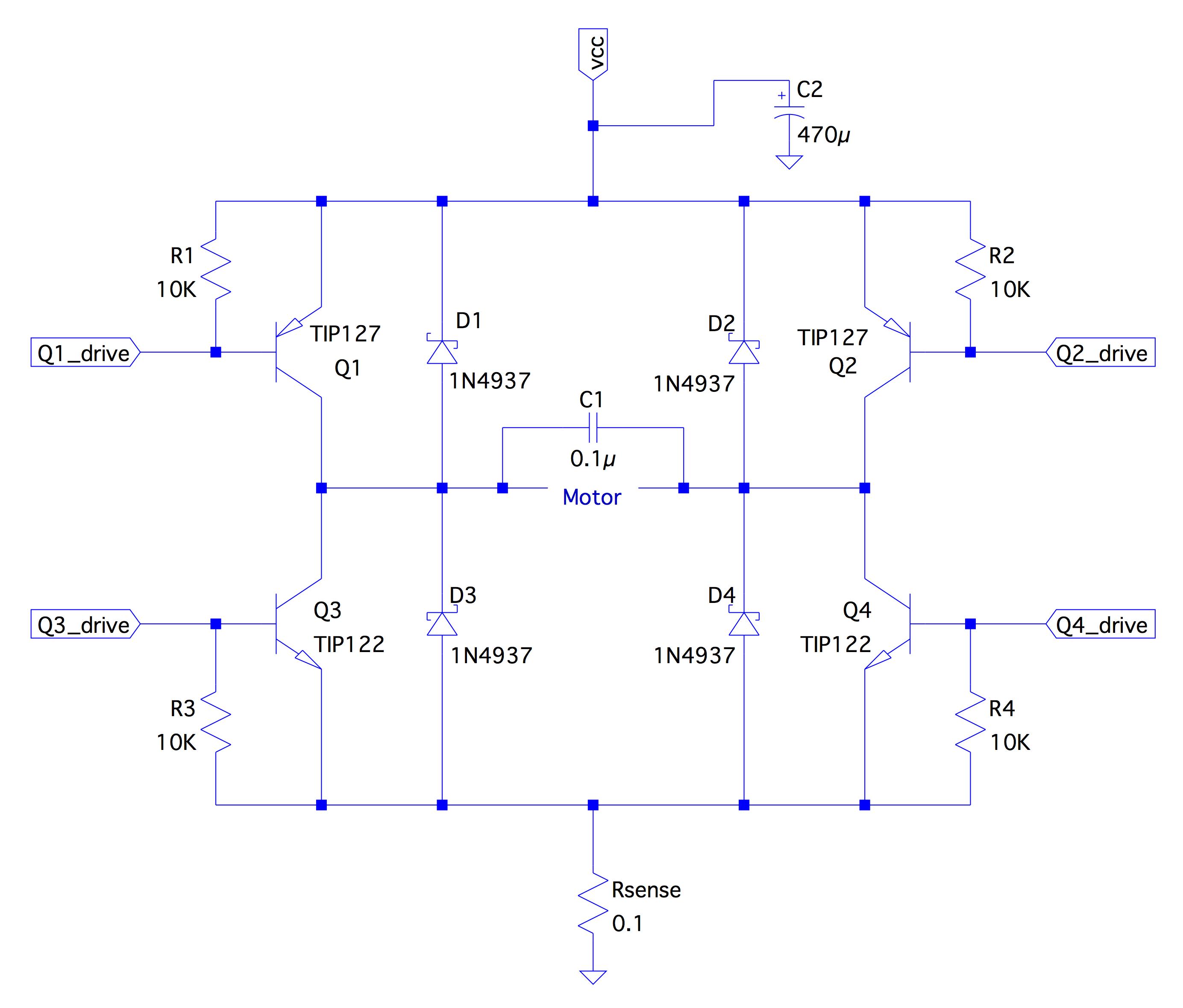 medium resolution of h bridge with tip122 127