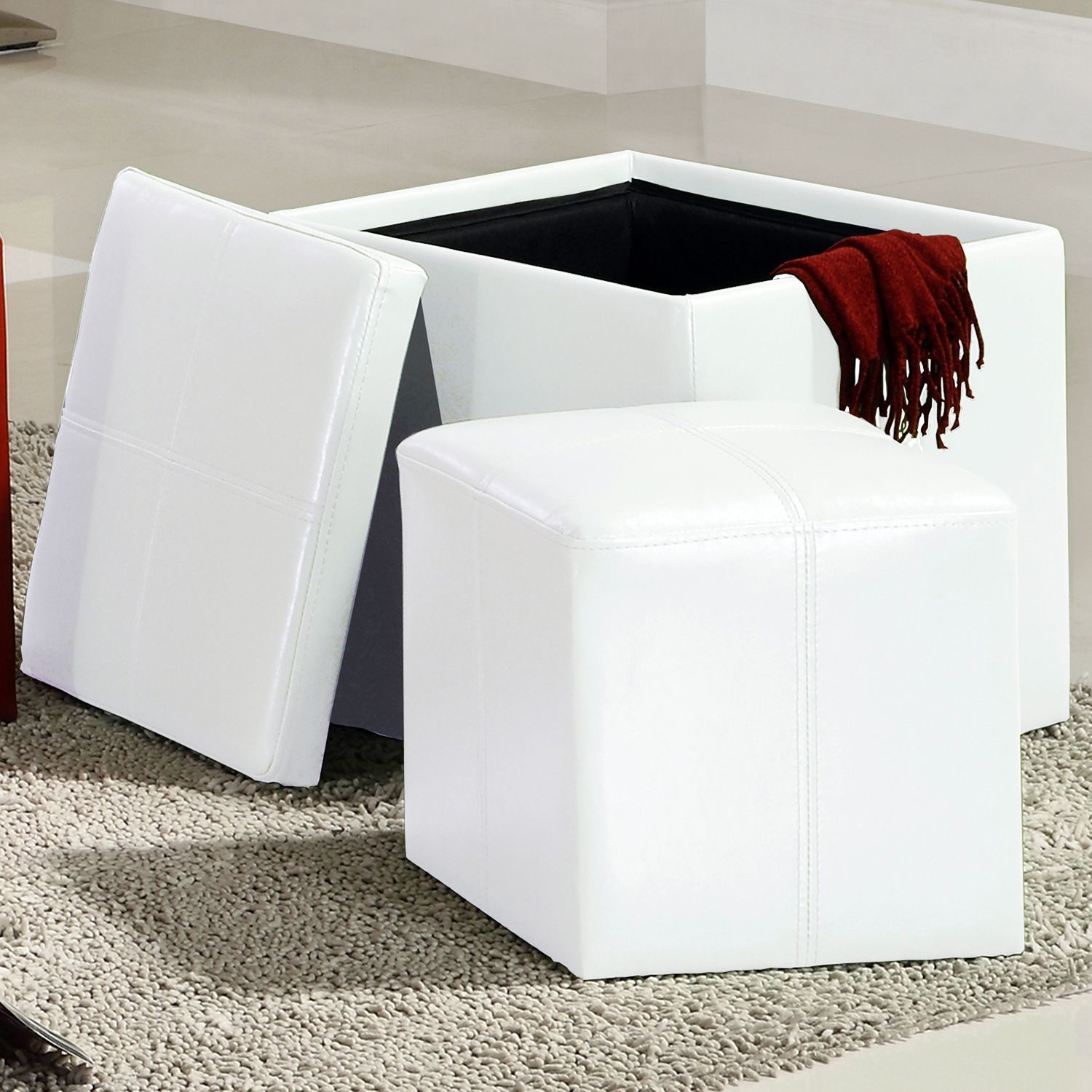 Inspire Q Swayne White Storage Ottoman with Mini (Swayne White Cube Ottoman)  (Faux Leather)