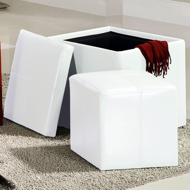 Admirable Inspire Q Swayne White Storage Ottoman With Mini Swayne Creativecarmelina Interior Chair Design Creativecarmelinacom