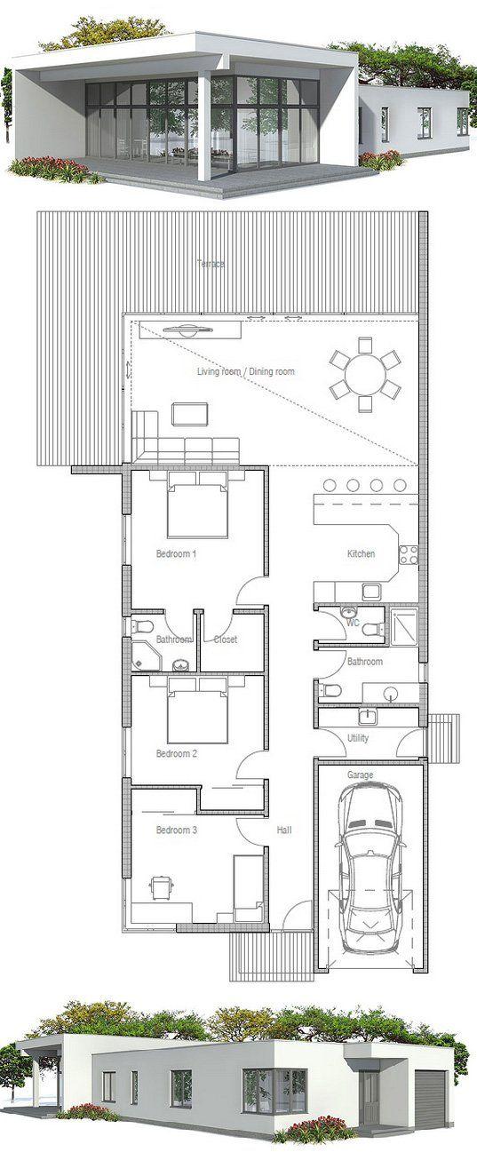 Contemporary Home Ch120 Narrow House Plans Country Style House Plans House Plans