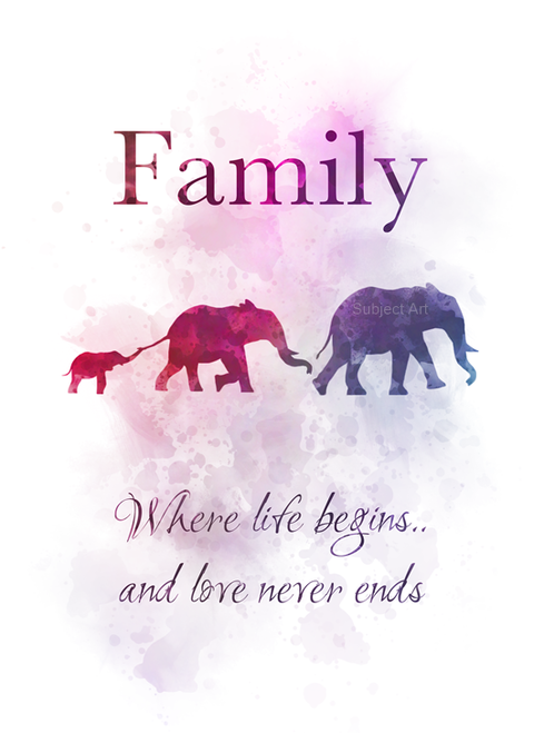 Download Family Where Life Begins and Love Never Ends Quote ART ...