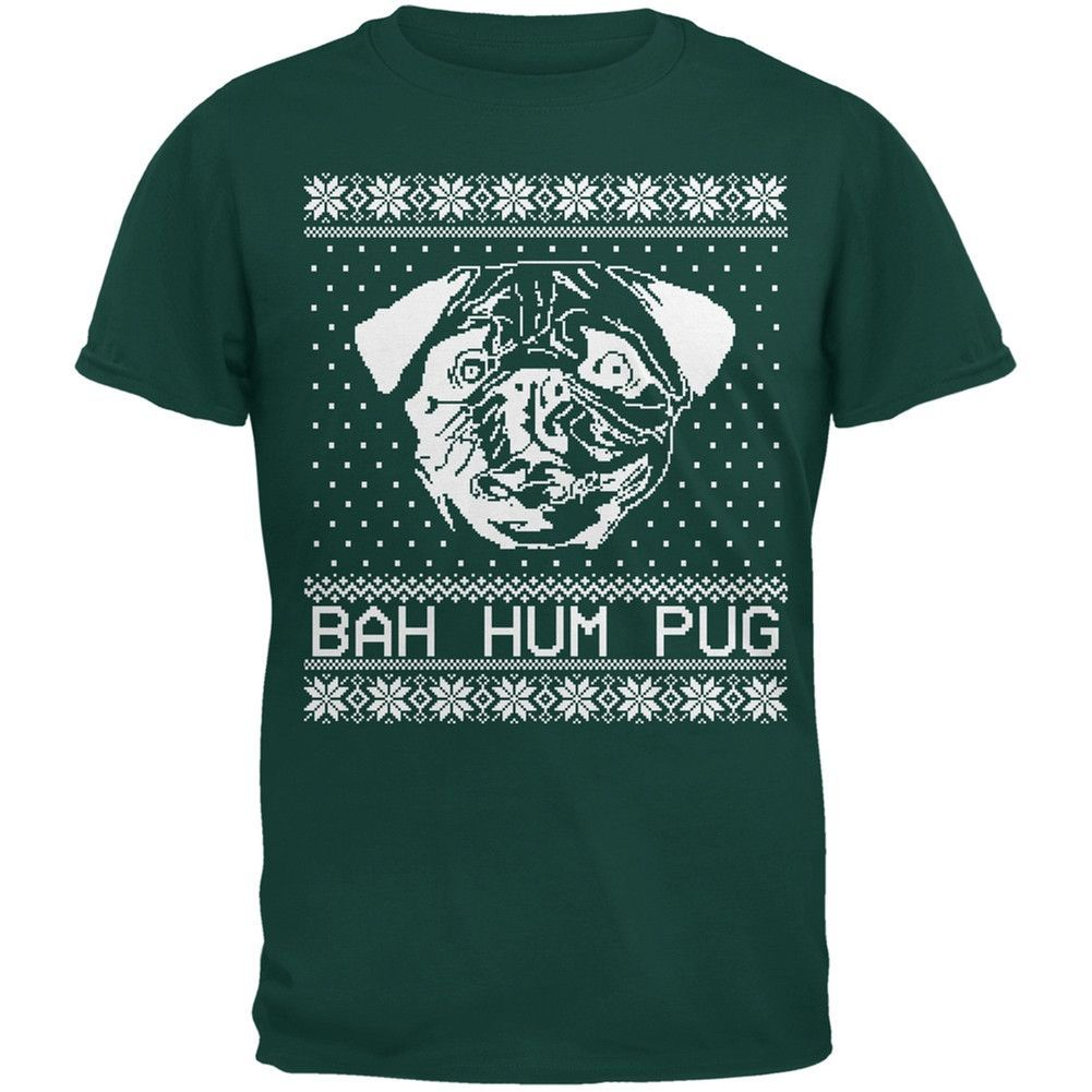 Bah Hum Pug Ugly Christmas Sweater Black Youth T-Shirt
