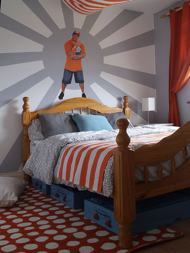 Wrestling theme (with John Cena wall decal) in a little boy\'s room ...