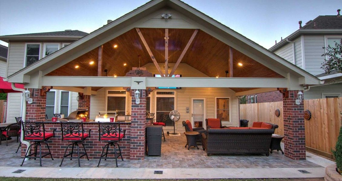 Gable Roof Patio Cover And Outdoor Kitchen Hhi Covers Ideas Deck Designs Brick Flagstone Na Covered Outdoor Kitchens Outdoor Covered Patio Covered Patio Design
