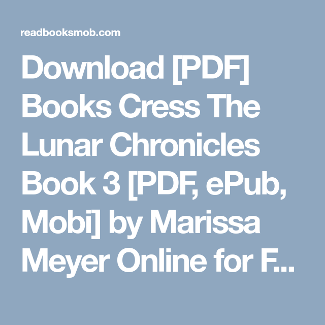 Cress Lunar Chronicles Epub