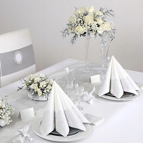 Serwetki Komunijne Srebrna Koronka 33x33cm 20szt Table Decorations Decor Wedding Planner