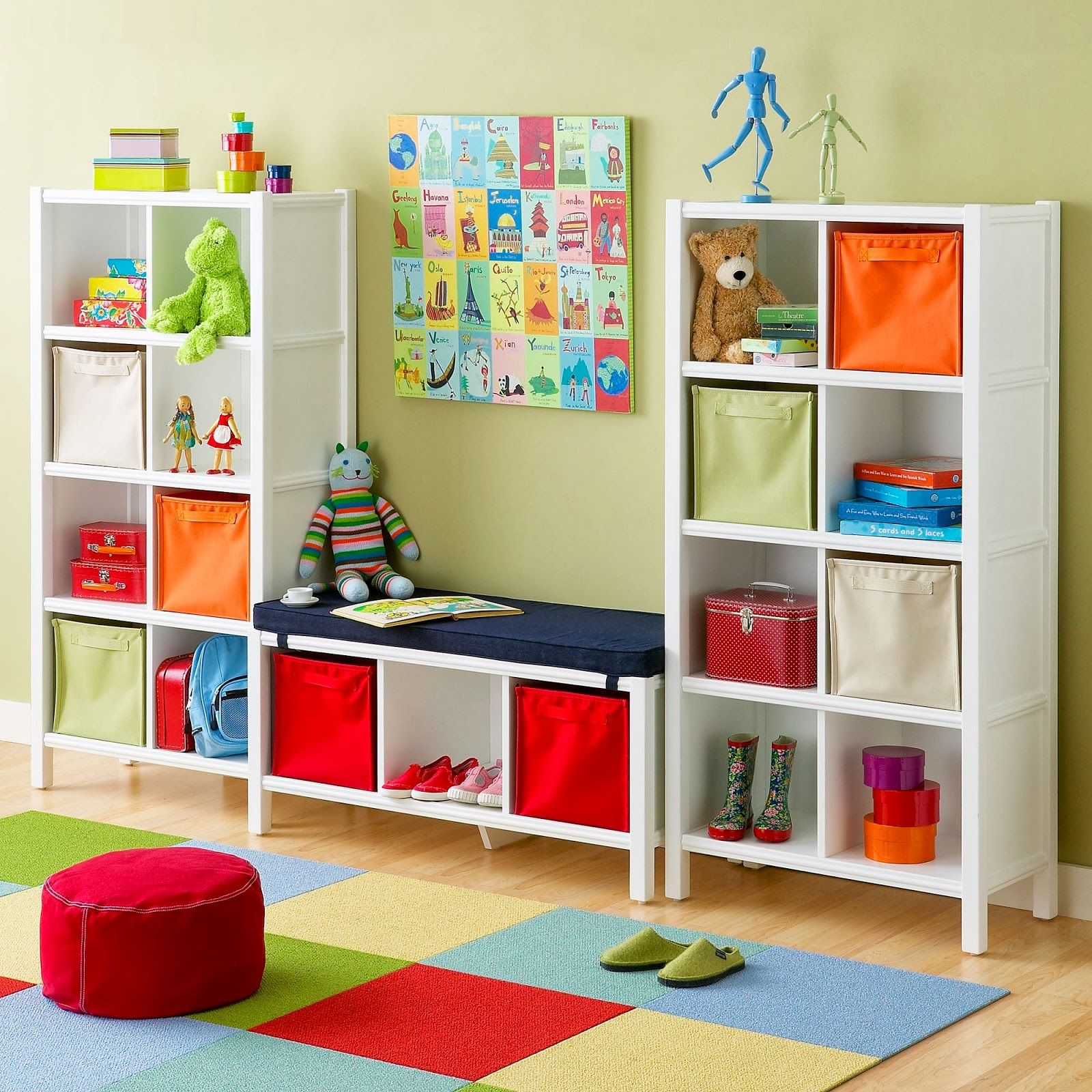 cool kids room design with white finish wooden open storage shelf be equipped colorful fabric storage bins of awesome charmingly storage shelving for