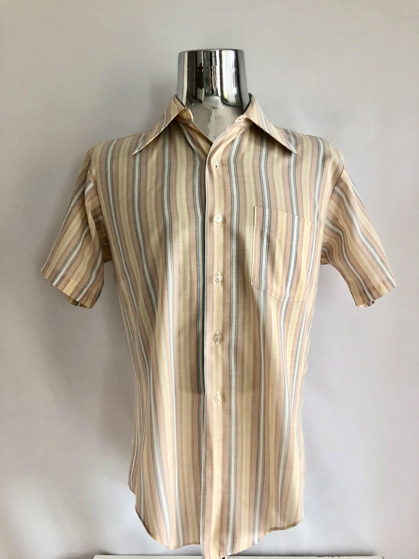 8e5fd912 Vintage Men's 70's Marlboro, Striped, Shirt, Pastel, Short Sleeve, Button  Down (L) by Freshandswanky on Etsy
