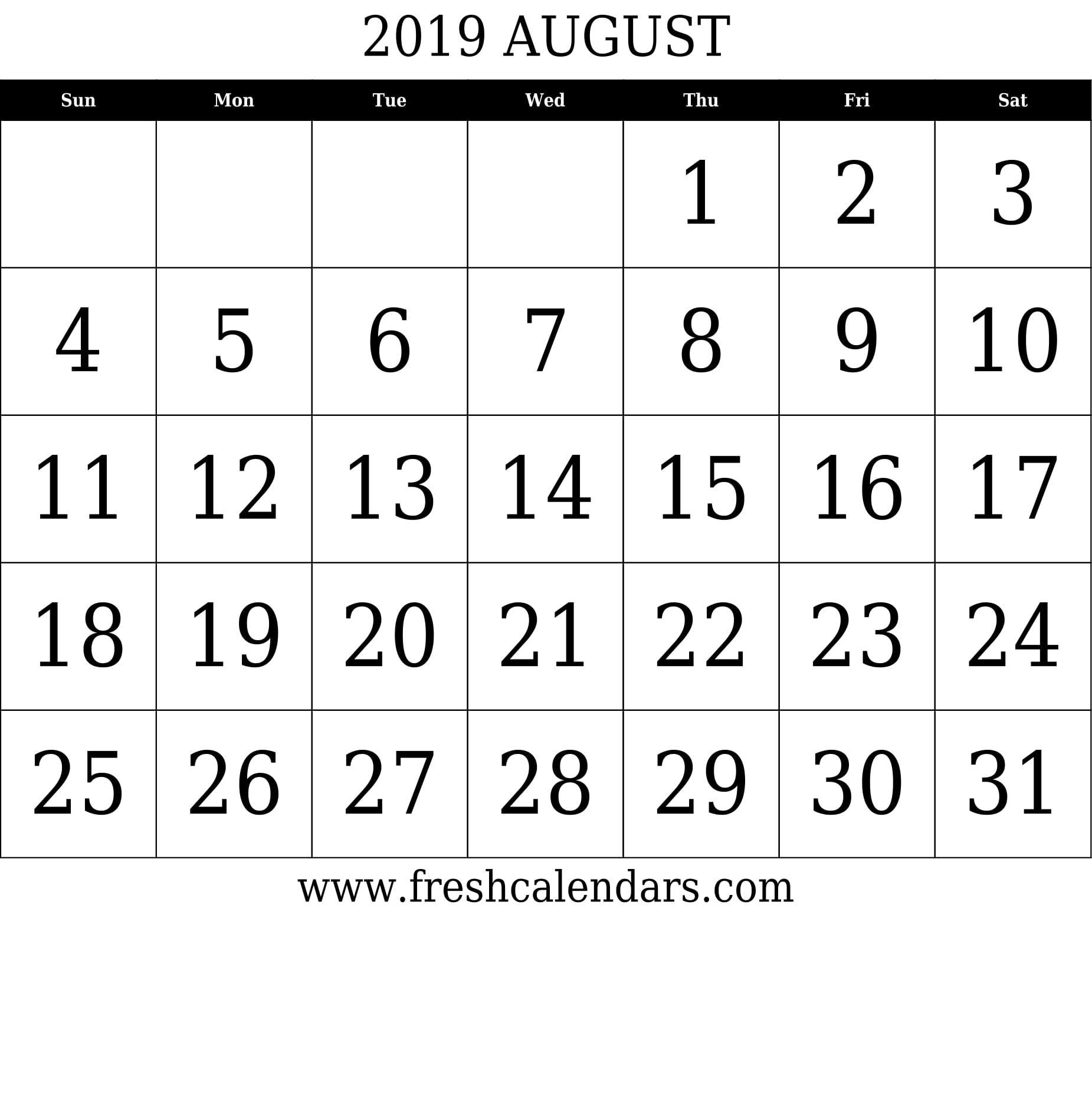 August 2019 Calendar Printable Templates Make It Calendar Printables Calendar 2019 Template August Calendar