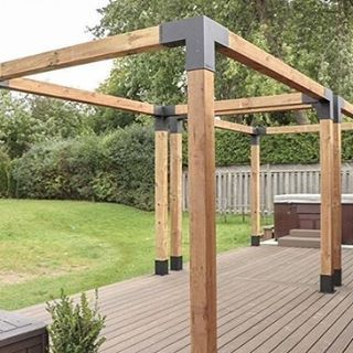 Photo of Pergola Kit with SHADE SAIL for 6×6 Wood Posts