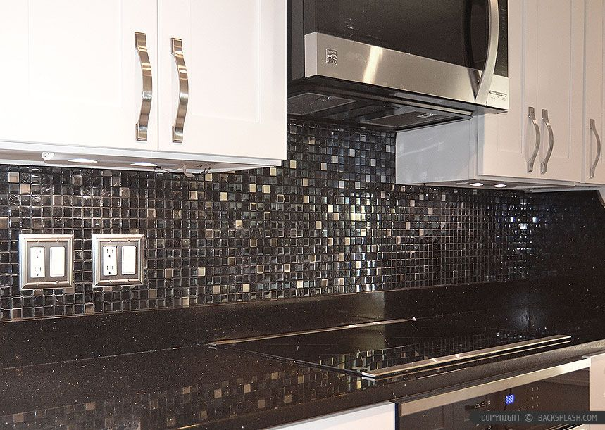 Modern Black Galaxy Granite Countertop White Cabinet Glass