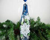 Blue Lighted Wine Bottle White Poinsettia Hand Painted 750 ml