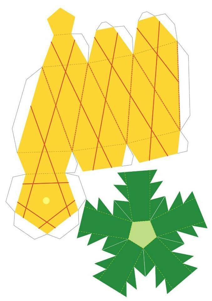 Frutero piña armable | Paper Projects | Pinterest | Fruteros, Cajas ...