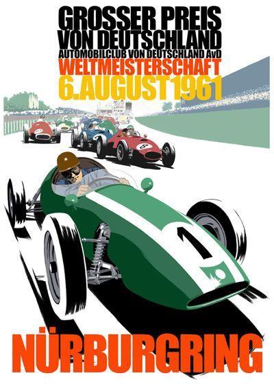 1961 Gp De Alemania En Nurburgring Vintage Racing Poster Auto Racing Posters Car Posters
