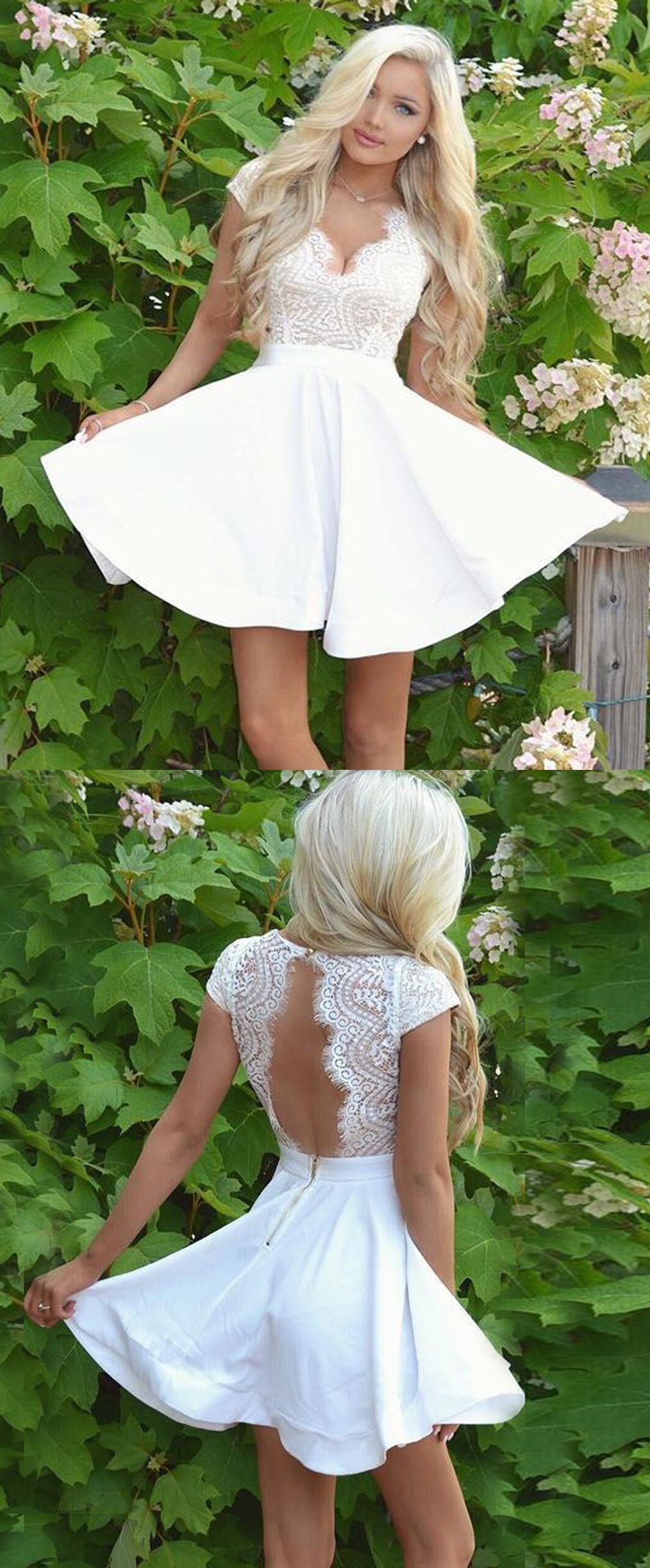 Lace dress open back  ALine VNeck Cap Sleeves Open Back White Short Homecoming Dress