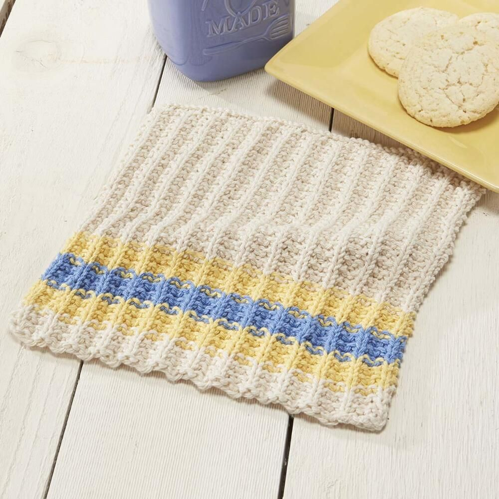 This lovely knit French country dishcloth has a rustic feel about it ...