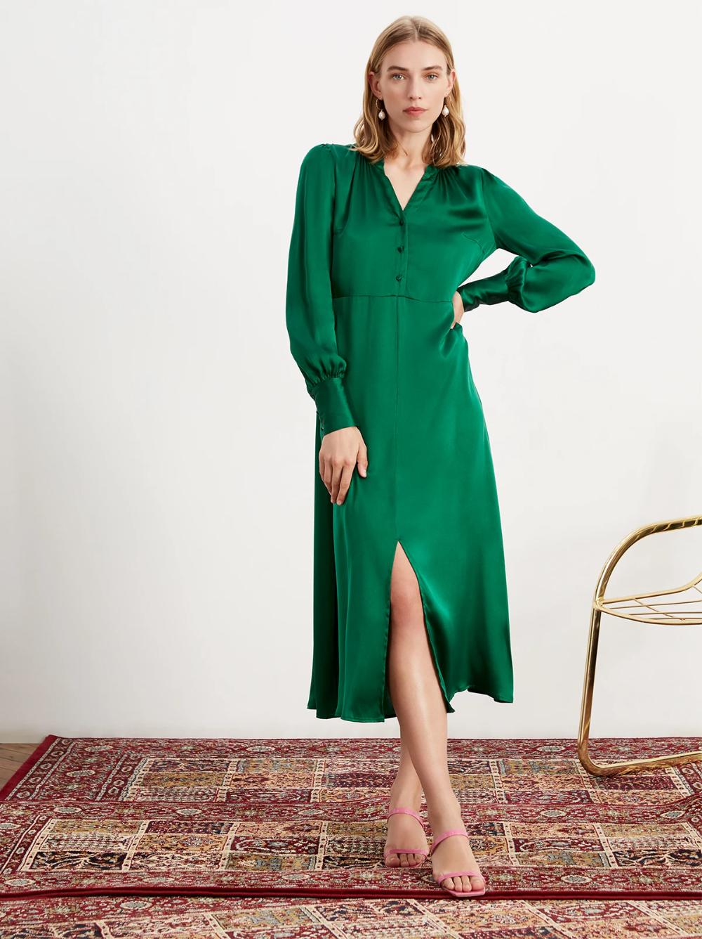 Mindy Green Silk Midi Dress Silk Midi Dress Midi Dress Long Sleeve Dress Outfit [ 1336 x 1000 Pixel ]