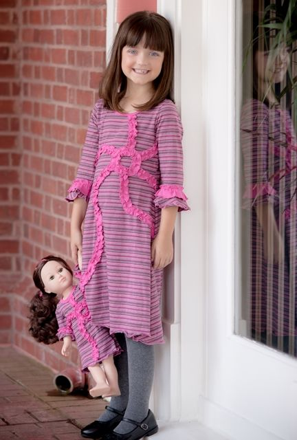 A little bit of summer sun for every day. This Brooke dress with purple and pink stripes, made with a wonderful soft 95% cotton 5% elastane knit fabric is the perfect outfit to dress up or down for any occasion. #Handmade by #LilliLovebird #matchingdressforgirlanddoll #AmericanGirl #matchingcuteness
