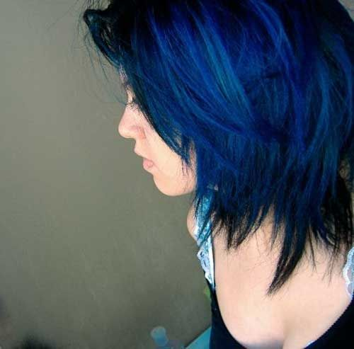 Mavi Siyah Kisa Sac Rengi Sac Sac Rengi Mavi Sac