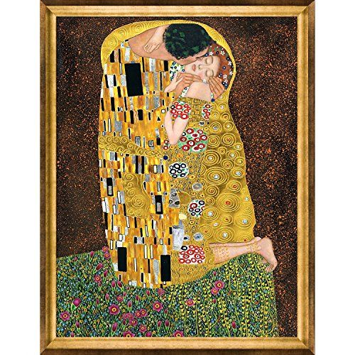 44807b0412f3 La Pastiche KLG1240FR994636X48 Framed Oil Painting The Kiss Full view  Metallic Embellished by Gustav Klimt with Athenian Gold Frame   You can get  a…