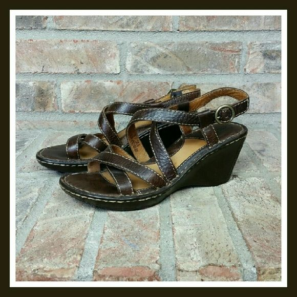 Brown Born Leather Sandals These are very nice like new brown Born leather sandals. They have cris-cross leather straps over the toes and on top of the foot that goes into the ankle strap that buckles with a brass toned buckle around the ankle. No Box. SORRY NO TRADES. Born Shoes Sandals