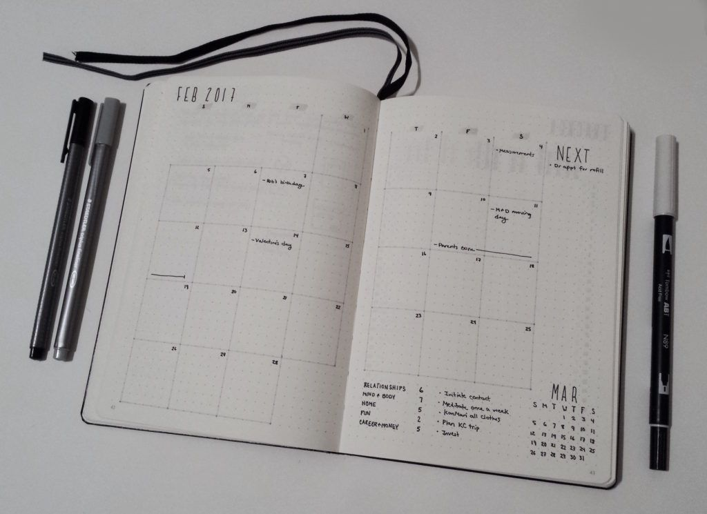 My February Bullet Journal Monthly Calendar Layout I Love The Grid