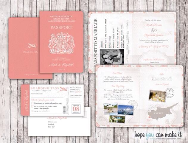 Passport Invitation Ideal For Weddings Abroad For A Free Sample
