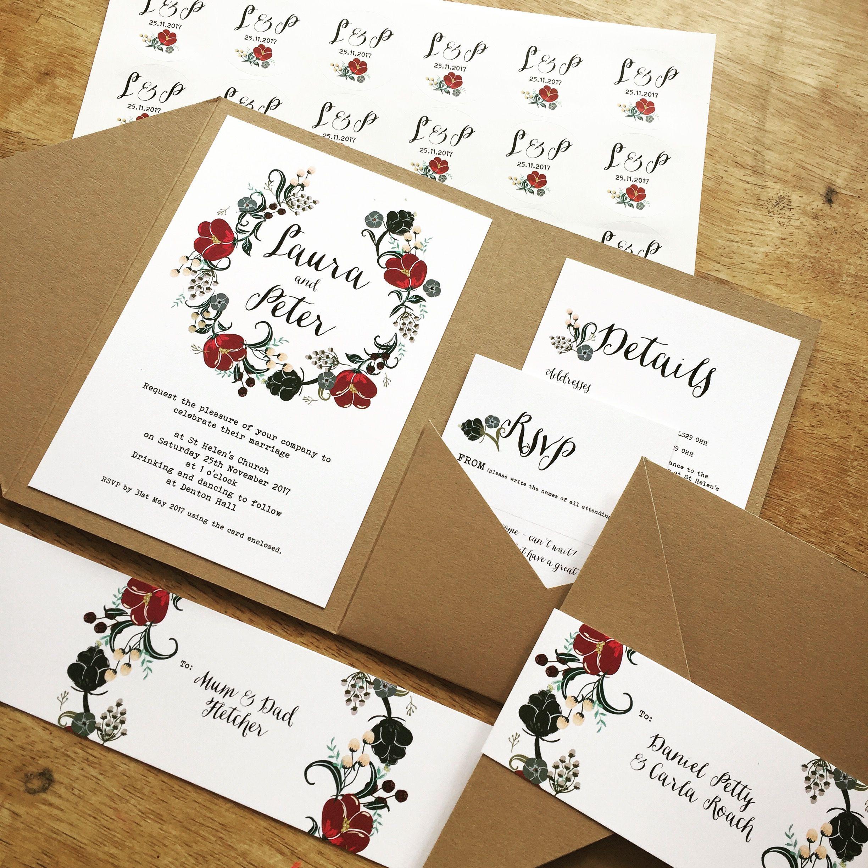 Wild Flowers pocketfold wedding invitation with matching envelope ...