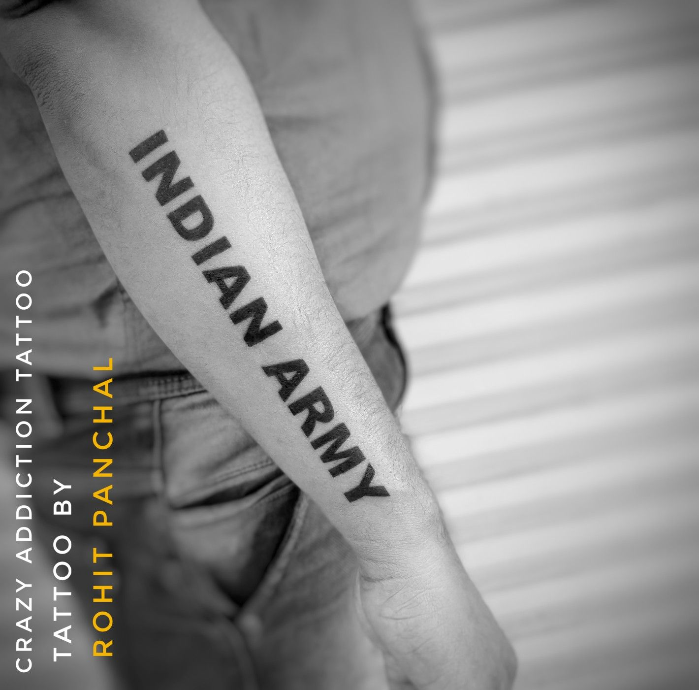 Name Of Indian Army Tattoo By Rohit Panchal Army Tattoos Heartbroken Tattoos Tattoos For Guys