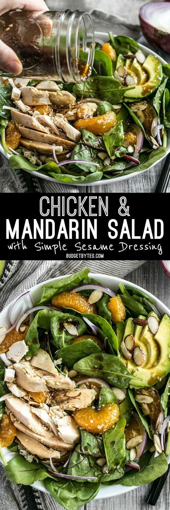 Chicken And Mandarin Salad With Simple Sesame Dressing Opskrift Salat Opskrifter
