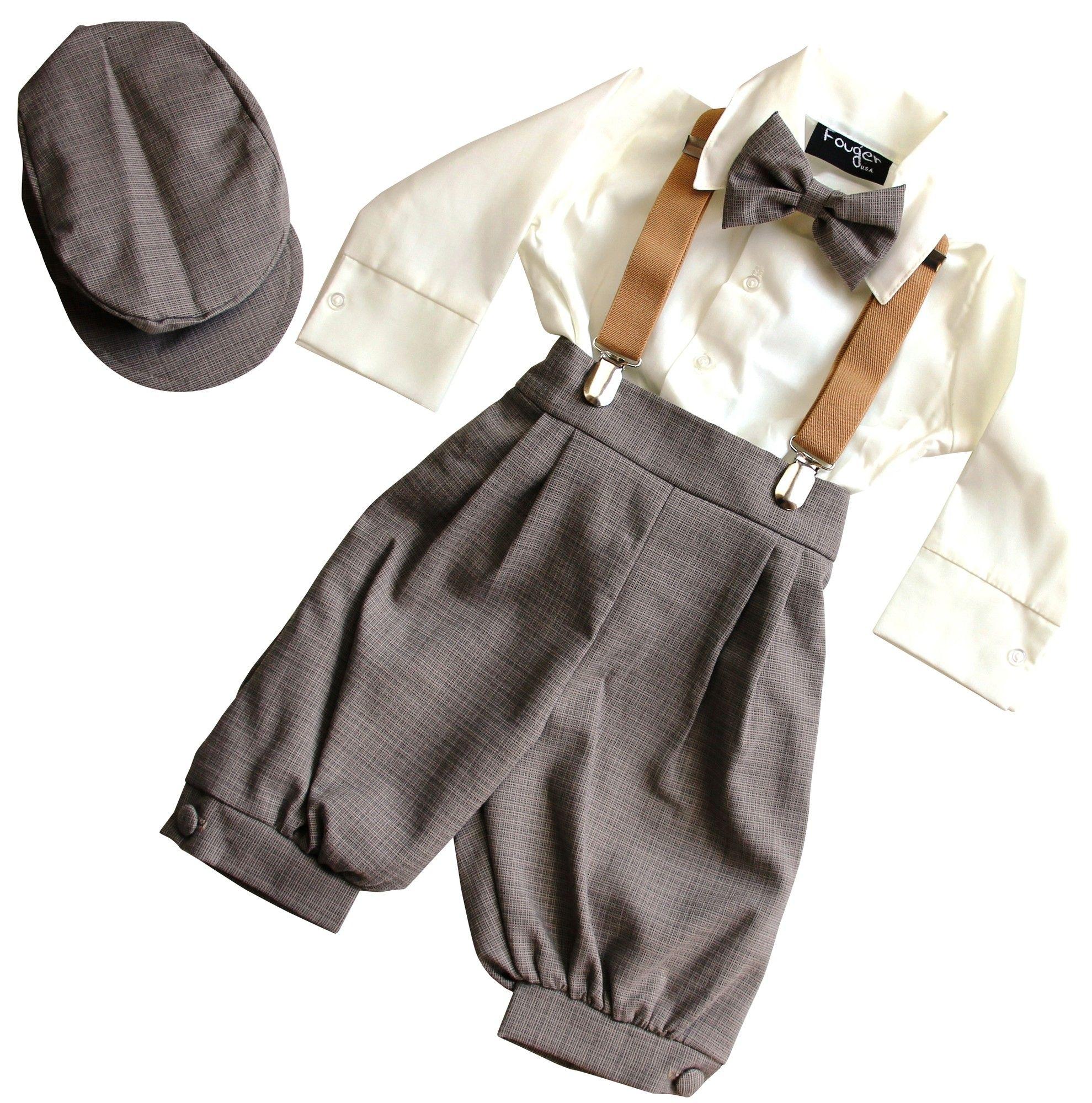 BIMARO Jungen Anzug Lino beige creme braun Kinderanzug ...