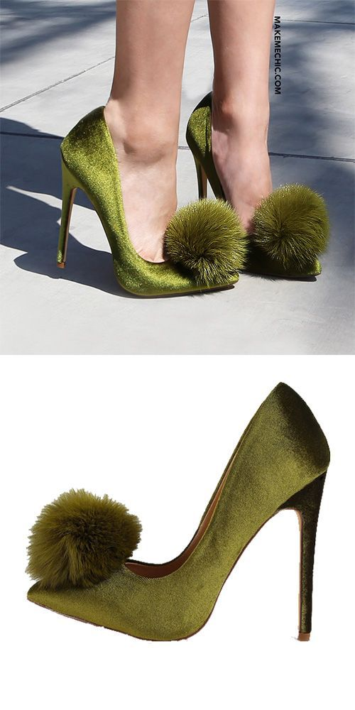 89395311443 Pointy Toe Stiletto Pom Pom Heels OLIVE Chaussures Habillées