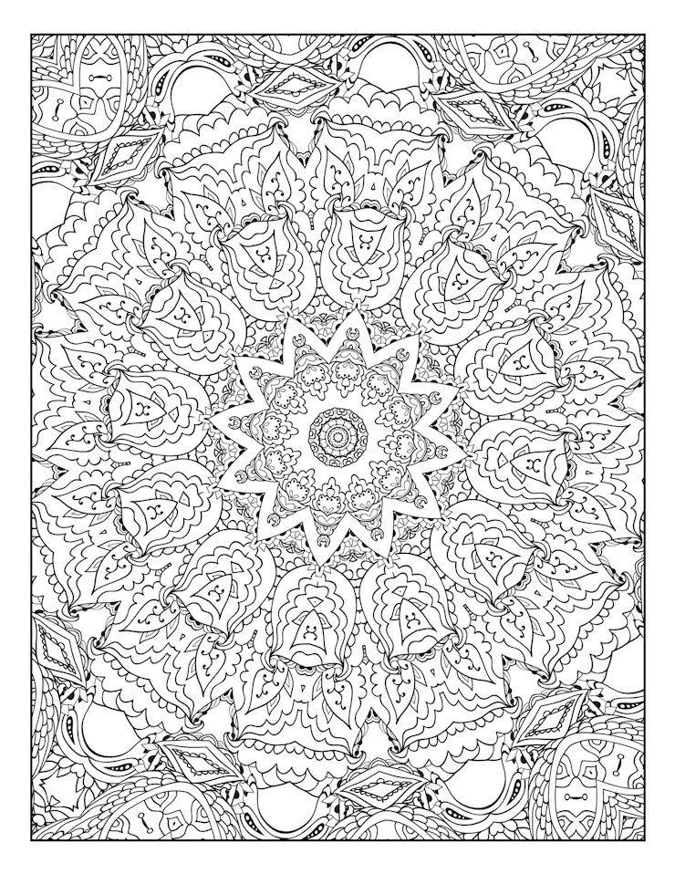 Coloring Page, Adult Coloring, Mandala, Geometric Pattern ...
