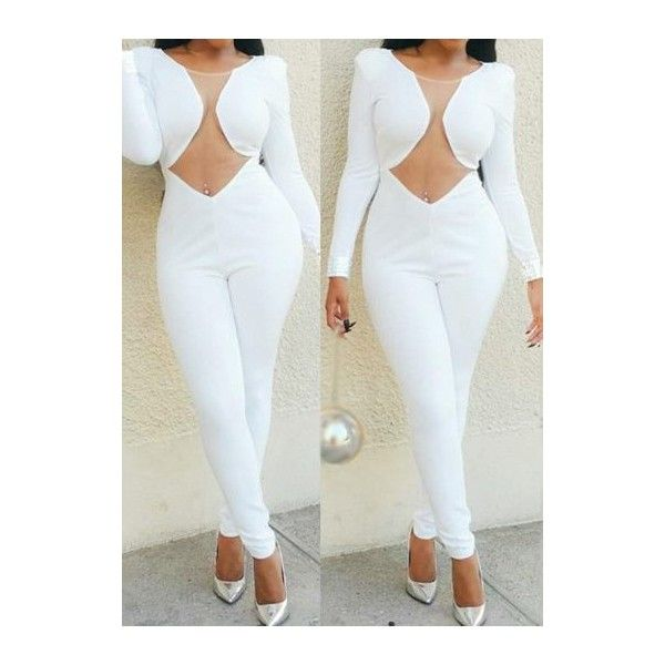 Zipper Closure Round Neck White Jumpsuit featuring polyvore, women's fashion, clothing, jumpsuits, white, zipper jumpsuit, print jumpsuit, white jumpsuit, patterned jumpsuit and long sleeve jump suit