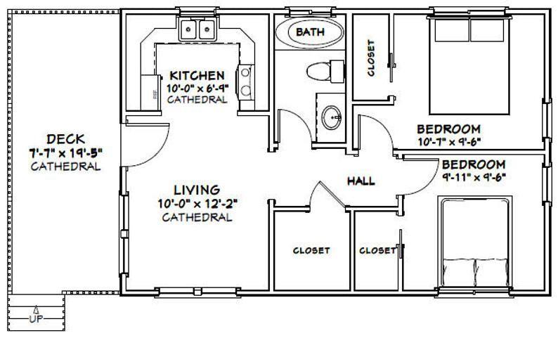 30x20 House 2 Bedroom 1 Bath 600 Sq Ft Pdf Floor Plan Etsy Small House Floor Plans Tiny House Floor Plans Tiny House Plans