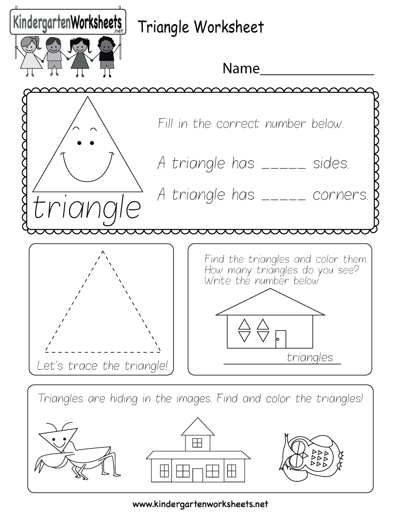 Kids can count, identify, and trace triangles with several fun ...