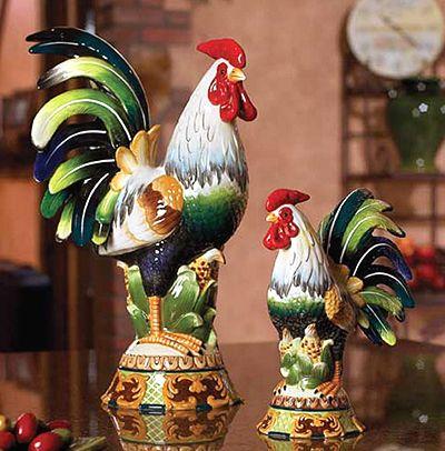 Exceptional Charles Sadek Rooster Figurines: Charles Sadek Rooster Figurines.  Brillantly Handpainted Details, Warm Shades
