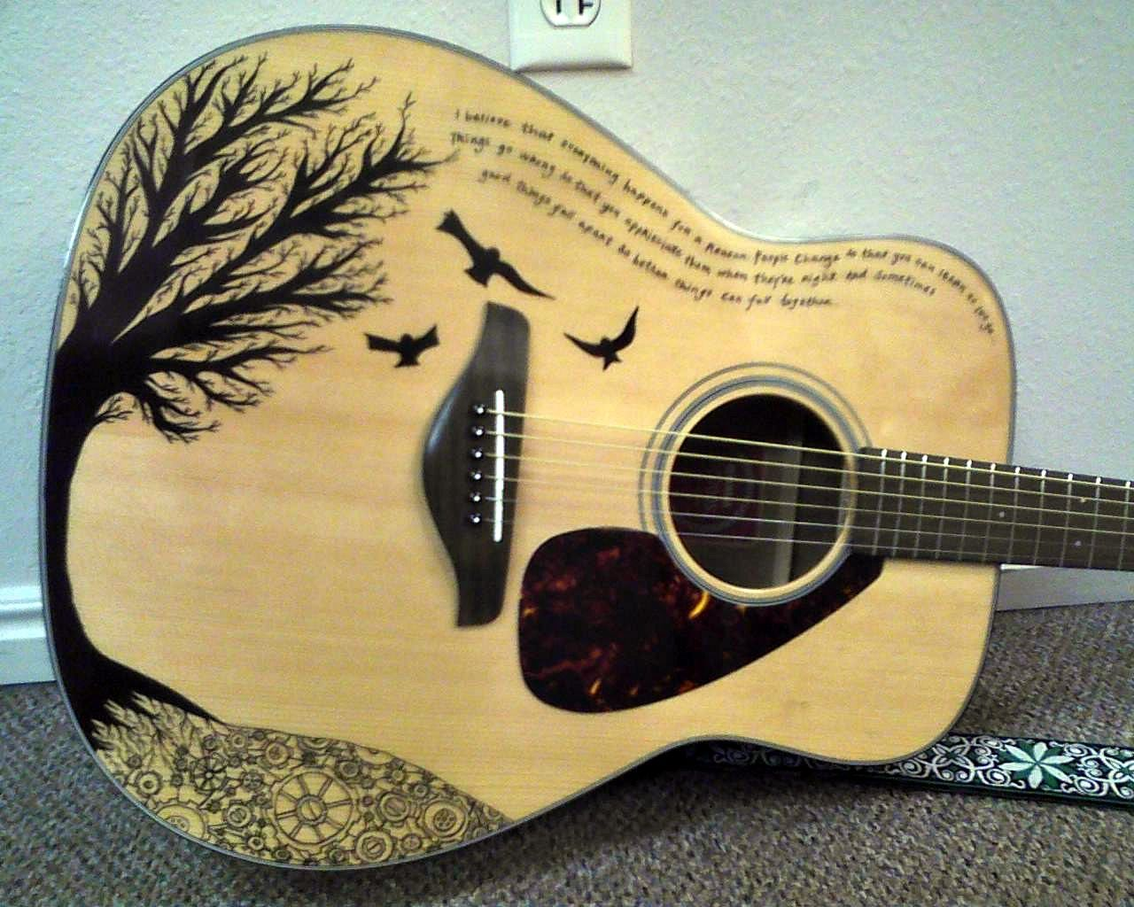 A Guitar With Quote From Favorite Artist