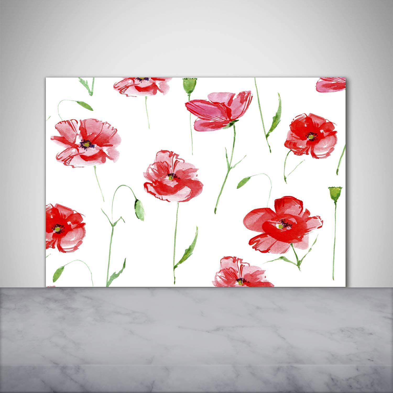 #spring #floral #floralpattern #floraldesign #floralprint #kitchen #kitchendecor #choppingboard #kitchenboard #worktopsaver #poppy #poppies #hite #red #wildflowers