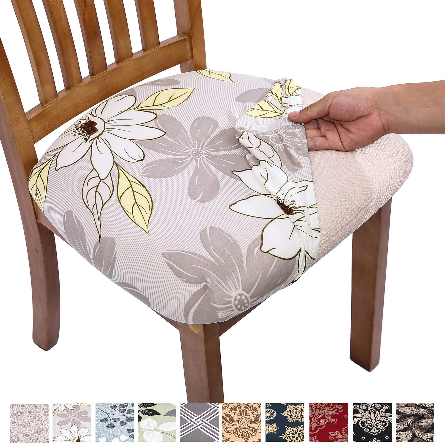 Comqualife Stretch Printed Dining Chair Seat Covers ...