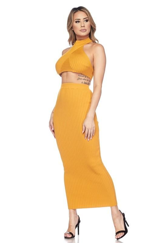 fc631cced Mustard Halter Crop Top Maxi Skirt Set | Two Piece Looks in 2019 ...
