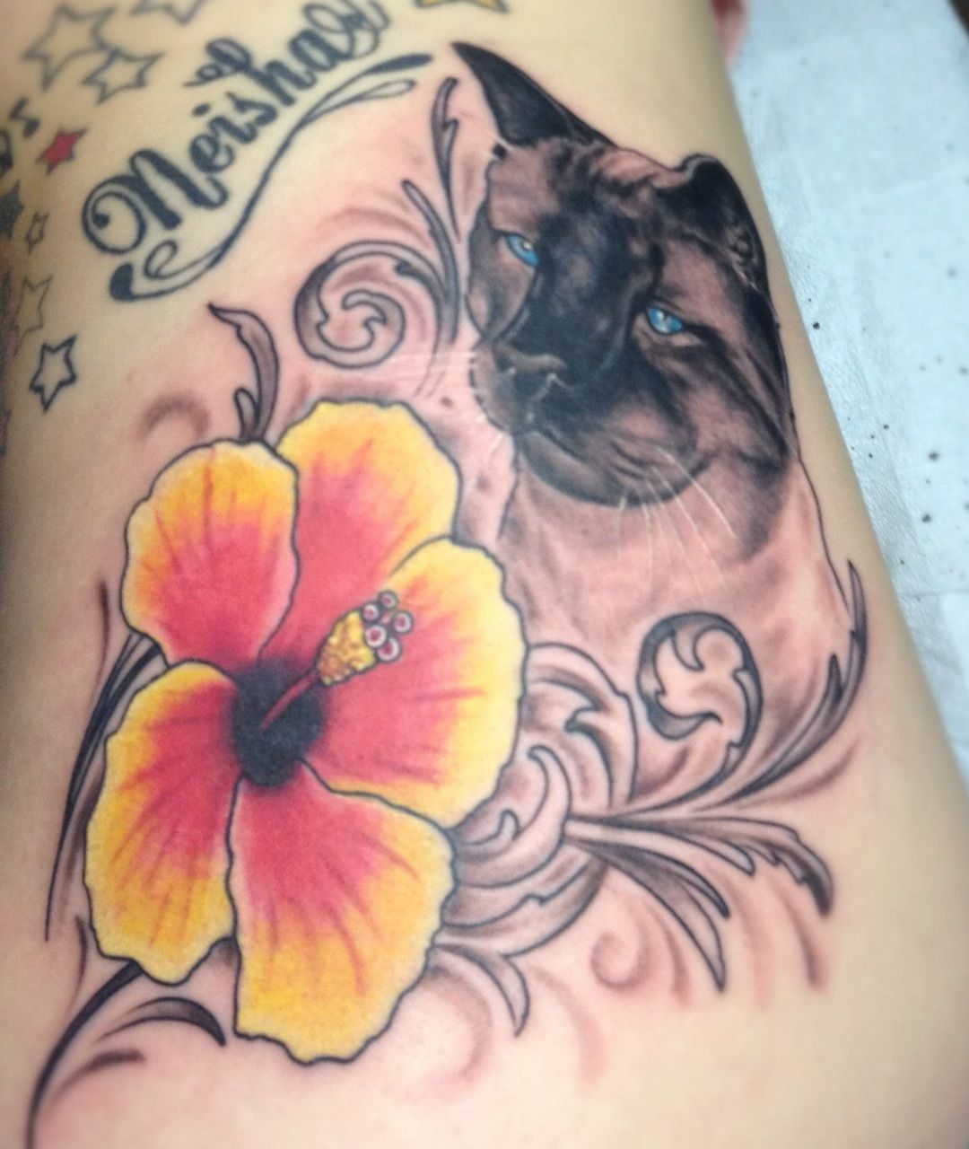 Cat tattoo with hibiscus flower hibiscus pinterest hibiscus cat tattoo with hibiscus flower izmirmasajfo Gallery
