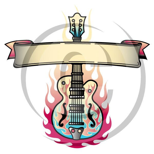 tattoo clip art clipart guitar flames rock and roll personal or rh pinterest com au