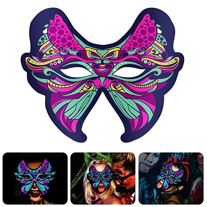 Sound Reactive Light up Flashing Mask for Women Art Music Rave Party