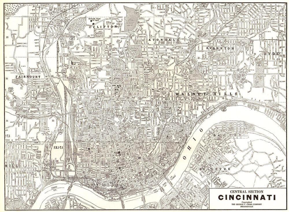 1940 Vintage Cincinnati Map Antique Map Of Cincinnati Ohio Gallery - Cincinnati-ohio-on-us-map