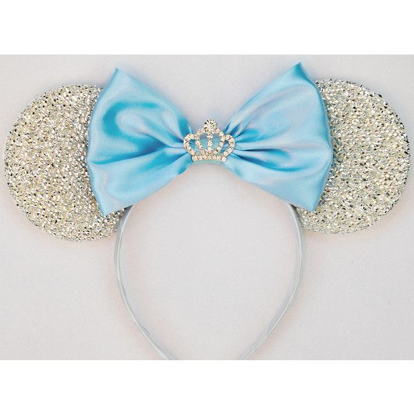 Cinderella Ears Silver Minnie Mouse Ears Headband Crown Tiara Disney... (73 BRL) ❤ liked on Polyvore featuring hair accessories